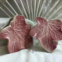 Vintage Pair Soft Pink Ceramic Ivy / Maple Leaf Wall Pockets Vase Planter