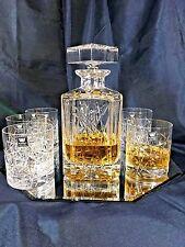 Crystal Glasses Whiskey Set Decanter 26 oz and 6 Tumblers10 oz Bohemian European