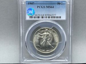 1947-P PCGS MS 64 Walking Liberty Half Silver Dollar! *Sight White Certified!*