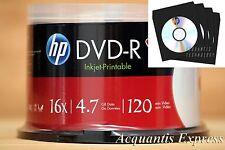 50 HP 16X DVD-R WHITE InkJet Printable DVD CB + 100 Black CD/DVD Paper Sleeve