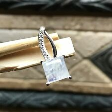 Genuine Rainbow Moonstone White Sapphire 925 Solid Sterling Silver Pendant 20mm