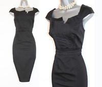 Karen Millen Black Cotton Pleated Details Work Formal Office Shift Dress UK12 40