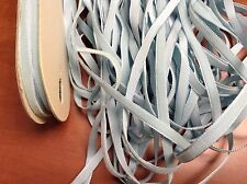 """30 yards 1/4"""" Vintage Velvet Ribbon Fabric Light Blue Color Made in France"""