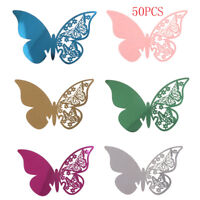 50pcs Butterfly Table Mark Wine Glass Name Place Card Wedding Party Bar Decor SU
