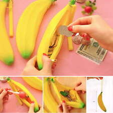Silicone Portable Banana Coin Pencil Case Purse Bag Wallet Pouch Keyring 1PC