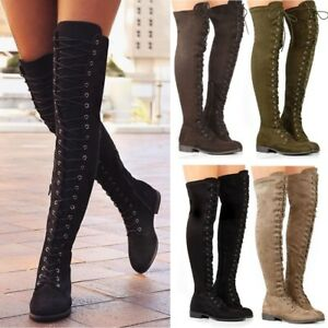 Women's Ladies Thigh High Boots Over the Knee Low Heel Flat Lace Up Shoes Combat