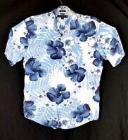 Tommy Hilfiger Men Large L Hawaiian Rayon Blue Floral Short Sleeve Camp Shirt