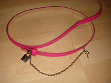 Karen Millen hip or waist Pink leather chain belt with padlock & Key size 3 (L)