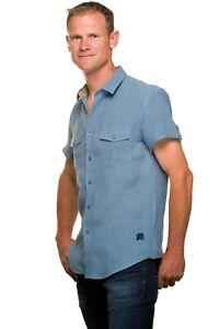 Ugholin Men's Linen Tailored Fit Short Sleeve Casual Light Blue Shirt