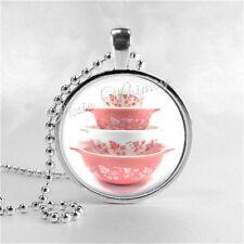 PYREX Pink Gooseberry Bowl Set Pendant Necklace Gift for Pyrex Collector