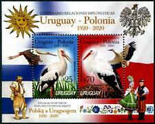 URUGUAY 2020 DIPLOMATIC RELATIONS WITH POLAND BIRDS SOUVENIR SHEET 2 STAMPS MINT