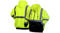 Pyramex Hi Vis Hooded Sweatshirt Class3 Safety Hoodie ZipFront Road Work M-5X