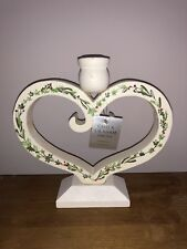 GISELA GRAHAM CHRISTMAS WHITE WOODEN HOLLY & IVY HEART CANDLE HOLDER