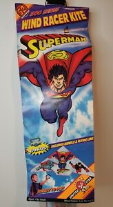 Vintage 1996 Superman Figure Wind Racer Kite Spectra Star Over 4Ft. Tall