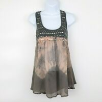 ABOUT A GIRL Women's Top Sequin NWT Tie Dye Gray Sleeveless Tank Tunic Blouse XS