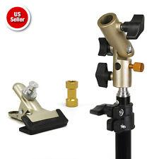 Photography Studio Gold Heavy Duty Metal Spring Clamp Umbrella Reflector Holder