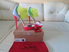 NIB Christian Louboutin Dufoura 140 Neon PVC Suede Sandal Heel 42 NEW