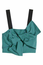 NWT H&M Bustier With a Bow Green & Purple Checked Crop Top US 12