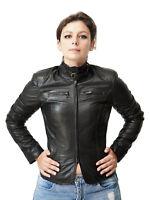 VIETRI LEATHER - Giacca da moto biker donna aderente - Vera Pelle nappa Nero
