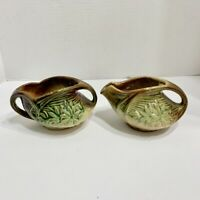 McCoy Pottery Creamer and Sugar Bowl Green Brown Vintage Tea Pair Daisy Pattern