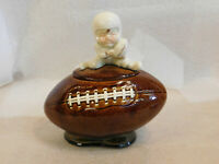 VINTAGE MCCOY CERAMIC FOOTBALL WITH PLAYER ON TOP COOKIE JAR #222 12""