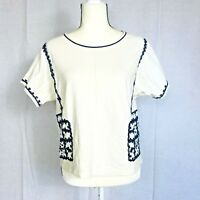 Madewell  size M Blue Ivory-White Kara Embroidered Top medium shirt jersey A1286