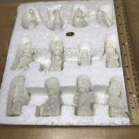 "Maryland China 12 piece White Porcelain Childrens Nativity Set Glazed 2-3"" tall"