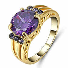 Size 8 Purple Amethyst Engagement Ring 10KT Yellow Gold Filled Wedding Band