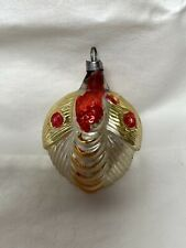 Victorian Blown Glass Owl Squirrel Christmas Ornament c1910 Holiday