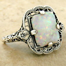 VICTORIAN 925 STERLING SILVER ANTIQUE STYLE LAB OPAL FILIGREE RING SIZE 8,  #994