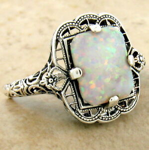 VICTORIAN STYLE 925 STERLING SILVER LAB OPAL FILIGREE RING SIZE 7,          #994