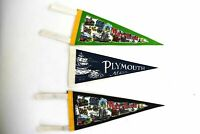 """Maryland Plymouth Mass The May Flower Plymouth Rock Pennants 11.5"""" Lot of 3 80s"""