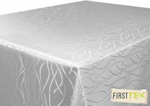 Tischdecke silber hellgrau 130x160 Eckig glanzvolle Streifenoptik von First-Tex