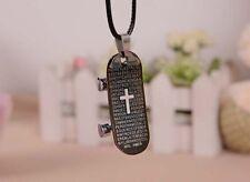 Men Sports Bible Cross Skateboard Stainless Steel Punk Pendant Necklace Jewelry