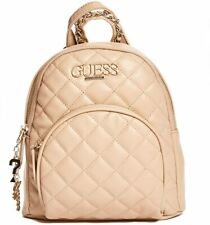 NEW GUESS Women's Nude Tan Beige Quilted Small Backpack Purse Crossbody