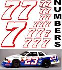 WHITE w/RED (#7's) Racing Numbers Decal Sticker Sheet 1/8-1/10-1/12 RC KYOSHOGMC