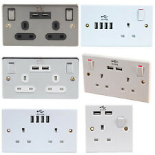 Single Double Wall Plug Socket 1 2 Gang 13A USB Charger Port Outlets Slim Plate