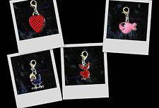 Choose Strawberry ~ Bird ~ Pink Fish OR P/B Bunny ~Bracelet Clip-On Enamel Charm