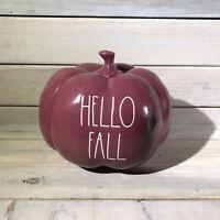 Rae Dunn Ceramic HELLO FALL Pumpkin ~ Cranberry Red, NWT 2020 Release ~ HTF!