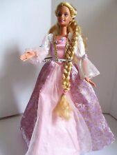 Barbie doll Growing Long Hair Golden Blonde Long Mauve Dress pink high heels