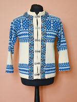 INordstrikk celandic Nordic Knit Cardigan Cream Blue Unisex Men's Medium 38 40