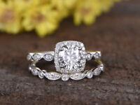 1.5ct Round Cut Diamond Bridal Set Vintage Engagement Ring 14k White Gold Finish
