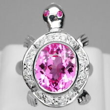 INTERESTING! PINK TOPAZ & WHITE SAPPHIRE STERLING 925 SILVER TURTLE RING SZ 6.75