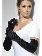 Ladies BLACK VELVET Velveteen Long Deluxe Peaky Blinders Hen 20's 1920's Gloves