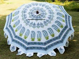 """Indian Hand Block Print Patio Outdoor Parasol Decor White Garden Umbrella 80"""""""