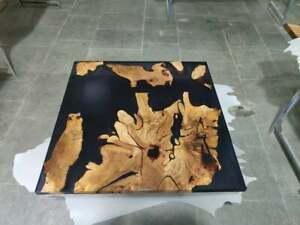 Unique Square Black Wooden Solid Epoxy Resin Restaurant Table Walnut Decors