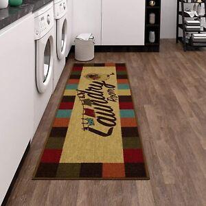 """20""""x59"""" Laundry Room Runner Rug Mat Area Carpet Non Slip Rubber Backed, Low Pile"""
