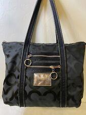 COACH Poppy tote bag Op Art Signature Jacquard Leather Glam Black  #13826