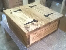 Square Storage Coffee Table Chest Rustic Solid Chunky Pine Wood Handmade Oak wax