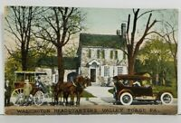 Valley Forge Pa Washington Headquarters Horse Buggy & Auto Postcard N13